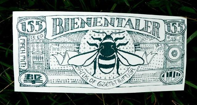 Bienentaler geldschein silkscreenprint by Gabba Reifenstihl